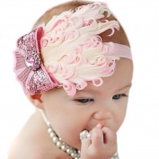 LOCOMO Baby Girl Cute Headband Pink Feather Big Sequin Bling Crystal Bow FBA028