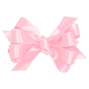 Wee Ones® Baby Classic French Satin Double Hair Bow w/Knot Wrap Centre - Ecru