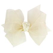 Wee Ones® Mini Classic Organza Double Hair Bow - Ecru