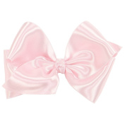 Wee Ones® Small King Classic French Satin Hair Bow on Barrette w/Knot Wrap Centre - Ecru