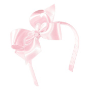 Wee Ones® Medium Classic Satin Hair Bow w/Knot Wrap Centre on Matching 1.3cm Wrapped Headband - Ecru