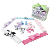 Bundle Monster 15in1 Interchangable Multicolor Newborn/Toddler Baby Girl Lace Headbands Grosgrain Ribbon Bows Barrettes Clips Combo Mixed Designs - Zebra, Polka Dot