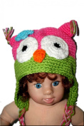 """PINK & LIME GREEN OWL Baby Hat Photo Prop Crochet Baby Hat Gift for Boy & Girl (Hand Made) by """"BubuBibi"""""""