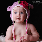Melondipity Girls Purple Organic Crochet Bear Baby Hat with Pink Flower Beanie