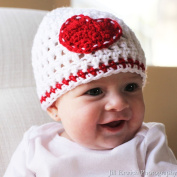 Melondipity Girls I Heart You Crochet Baby Hat - Handmade White, Red Beanie