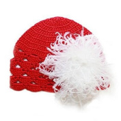 Melondipity Girls Poinsettia Baby Hat - Red Beanie, White Puff for Christmas Holidays