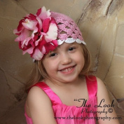 Melondipity Girls Bubble Gum Pink Crochet Flower Baby Hat - High Quality Beanie with White Brim, Red Peony