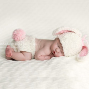 Melondipity Bunny Baby Hat, Nappy Cover Set - Pink, White High Quality Beanie