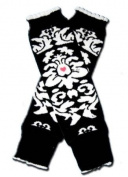 BLACK TATOO (ED HARDY LOOKALIKE) Baby Leggings/Leggies/Leg Warmers for Cloth Nappies - GIRLS & ONE SIZE by BubuBibi