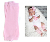 (180) NEWBORN solid pink baby girl leg warmers - up to 6.8kg