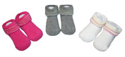 Rocawear Reverse Terry Striped Booties 3 Pack - Baby Girls