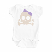 Baby Girl Skull Purple Pirate Princess Design White One Piece Bodysuit