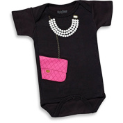 "Sara Kety ""Pink bag with pearls"" Infant Short Sleeve Bodysuit"