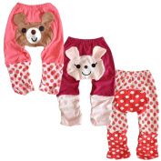 Set 3 LOCOMO Baby Girl Bear Striped Strawberry Pant Trousers FBT001G