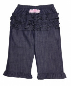 RuffleButts Baby Girls Dark Blue Denim Jean Ruffled Pants