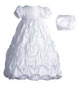 Lauren Madison baby girl Christening Baptism Special occasion Newborn Taffeta dress gown With Puckered Embroidery