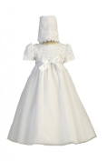 Long White Embroidered Satin Ribbon Tulle Bodice with Tulle Skirt Baby Girl Christening Baptism Special Occasion Newborn Dress Gown with Matching Hat