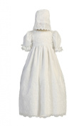 Embroidered Organza Christening Baptism Special Occasion Gown with Matching Hat