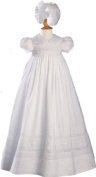 81cm Short Sleeve Christening Gown with Hand Embroidery and Pintuck