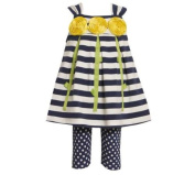 Bonnie Jean Baby Girls Stripe Flower Dress Outfit Set w/ Leggings, Blue, 12M - 24M