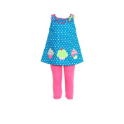 Turquoise Dot Cupcake Top With Pink Leggings 5