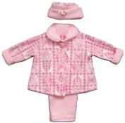 Baby Girl Pink Hearts Fleece Jacket Pants and a Hat 18 Months