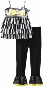 Mud Pie Baby-Girls Infant Striped Tunic And Legging Set, 6 months-Black/White/Yellow,