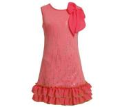Pink Knit Sequin Flower Dress