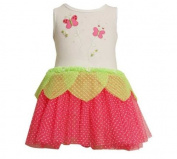 Bonnie Jean Girls Butterfly Flocked Mesh Tutu Spring Summer Dress , Fuschia , 12M - 24M