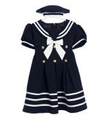 Classykidzshop Navy Girl Sailor Dress with White Strip
