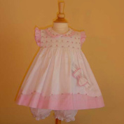 """Pretty in Pink Hand Smocked """"Roses and Gingham"""" Sun Dress Set- 3m-6m-9m-12m-18m-24m"""