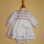 Pretty in Pink Hand Smocked Pique Dress Set with Pearls and Organza- 3m-6m-9m-12m-18m-24m