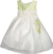 Crayon Kids Baby Dress Sage Shantung Ivory Party Dress and Headband