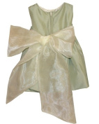 Elegant Baby Girl Sage Green colour Dress and Rose Corsage. Available in 12,18,24,36 Months