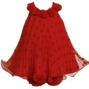 Bonnie Baby-Girls Infant Flocked Dot Mesh Dress With Wire Hem
