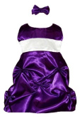 Baby Fancy Flower Girl Dress Purple Satin Puckered