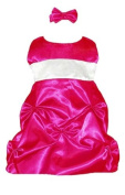 Baby Fancy Dress Fuchsia Satin Puckered