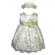 Baby Special Occasion Holiday Party Dress - 2 Pc Set Sage w/ Sequins and Embroidery
