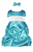 Infant Fancy Dress Turquoise Satin Puckered