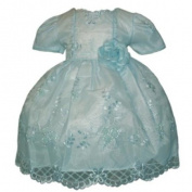 Girls Toddler Easter Dress - Embroidered Organza w/ Blue Pearl Beads
