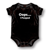 "Attitude Rompers ""Oops I Pooped"" Baby Romper, Black"