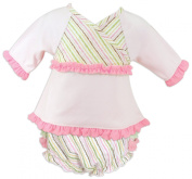 Stephan Baby Infant Girl Top and Ruffled Nappy Cover, Pretty Pastel Stripe, 12 Months