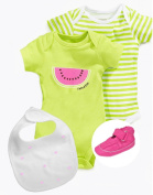 NEW! Baby Boutique® Baby Girl Rompers, 100% Leather Sneakers and Bib set, Green / Pink, Size