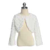 Baby Girls White Swirl Faux Fur Special Occasion Shrug Jacket 6M-24M