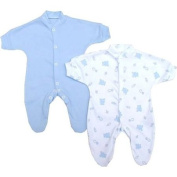 Premature Early Baby Clothes Pack of 2 Sleepsuits / Babygros 0-3.4kg Blue