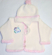 Ck601, Knitted on Hand Knitting Machine Ivory Cotton Trimmed By Hand Crochet with Pink Chenille Cardigan Hat for Infant Girl with Sequin Appliqué'