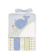 Cutie Pie Hooded Towel & Washcloths Set - Boys Whales - colours as shown, one size