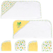 . 2 Hooded Towels and 4 Washcloths Set - Fish