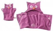 "Baby / Children's Bath Towel Set ""Olivia the Owl"" Hooded Towel & Bath Mitt"
