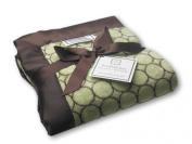 SwaddleDesigns Stroller Blanket, Brown Mod Circles, Lime